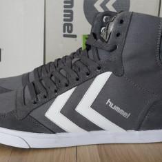 39, 40_Adidasi originali HUMMEL_din panza_cu piele_gri_adidasi barbati inalti, Piele naturala