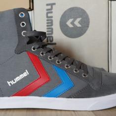 44_Adidasi originali inalti barbati HUMMEL_cu piele_din panza_gri_in cutie, 44, Gri, Piele naturala, Hummel