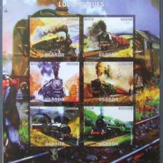 UGANDA 2016 - LOCOMOTIVE, 1 M/SH NEDANTELATA, NEOBLIT, POSTA PRIVATA - PP 1134 - Timbre straine, Transporturi, Nestampilat
