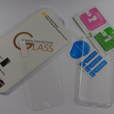 Iphone 5 sau 5s Folie din Sticla si Husa Ultra Slim Silicon Transparenta 0.3mm - Folie de protectie Samsung