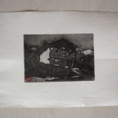 GRAVURA GHEORGHE PETRASCU - Pictor roman, Abstract, Cerneala
