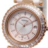 Ceas de LUX-Placat Aur Rosu-Ceas Dama BERNY CeramicWhite mec. JAPONEZ qz. MIYOTA