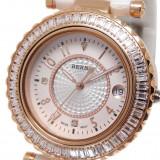 Ceas de LUX-Placat Aur Rosu-Ceas Dama BERNY CeramicWhite mec. JAPONEZ qz. MIYOTA, Lux - elegant, Quartz, Placat cu aur, Piele, Data