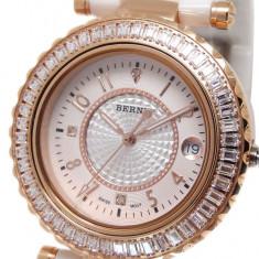 Ceas de LUX-Placat Aur Rosu-Ceas Dama BERNY CeramicWhite mec. JAPONEZ qz. MIYOTA, Lux - elegant, Quartz, Placat cu aur