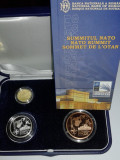 Set Romania 1, 10 si 100 Lei 2008 - Proof ( Summit NATO - aur, argint, tombac )