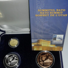 Set Romania 1, 10 si 100 Lei 2008 - Proof ( Summit NATO - aur, argint, tombac ) - Moneda Romania