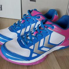 40_Adidasi originali sport unisex HUMMEL_running dama_handbal_alb_albastru - Adidasi dama Hummel, Marime: Alta, Piele sintetica