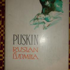 Puskin - Ruslan si Ludmila (ilustratii- Florica Cordescu)- an 1961/141pag - Carte de povesti