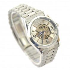 Ceas dama Automatic GOER White Edition CEL MAI MIC PRET Grantat, Casual, Mecanic-Automatic, Inox, Analog