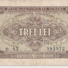 ROMANIA 3 LEI 1952 F - Bancnota romaneasca