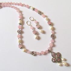 Set cuart roz cu perle de cultura - Set bijuterii handmade si fashion