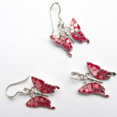 Set argint fluture cu sidef roz si email - Set bijuterii argint