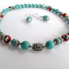 Set unicat turcoaz reconstruit cu cloisonne - Set bijuterii handmade si fashion