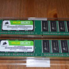 Kit DualChannel 2x1 Gb DDR400 Corsair CS1GB400C3 - Memorie RAM Corsair, 2 GB, 400 mhz