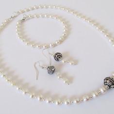 Set perle de cultura cu insertii metalice tip Bali - Set bijuterii handmade si fashion
