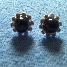 Cercei perle cultura negre si cristale - Cercei perla