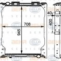 Radiator, racire motor MAN F 2000 19.233 FC CNG - HELLA 8MK 376 721-481 - Radiator racire LuK