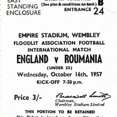Bilet meci fotbal (de colectie) ANGLIA-ROMANIA (under 23) 16.10.1957