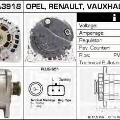Generator / Alternator OPEL VIVARO platou / sasiu 1.9 Di - DELCO REMY DRA3918 - Alternator auto