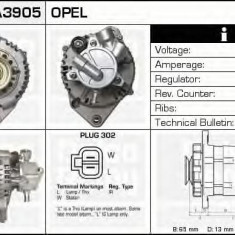 Generator / Alternator OPEL ASTRA G hatchback 1.7 DTI 16V - DELCO REMY DRA3905 - Alternator auto