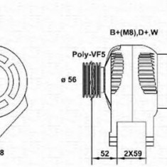 Generator / Alternator VW POLO 64 1.9 D - MAGNETI MARELLI 943355025010 - Alternator auto