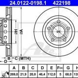 Disc frana AUDI A8 limuzina 4.2 quattro - ATE 24.0122-0198.1