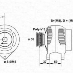 Generator / Alternator AUDI A4 limuzina 1.9 TDI - MAGNETI MARELLI 943355027010 - Alternator auto