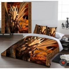 Set lenjerie de pat din bumbac Protectoarea dragonului 200x200