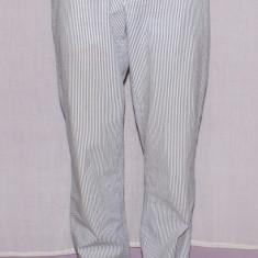 Pantaloni barbati HENTSCH MAN material seersucker marimea W34 / 50, Culoare: Alb, Lungi, Bumbac