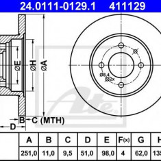 Disc frana FIAT STRADA I 105 Sport 1.6 - ATE 24.0111-0129.1 - Discuri frana REINZ