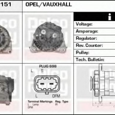 Generator / Alternator OPEL ASTRA H combi 1.6 LPG - DELCO REMY DRA1151 - Alternator auto
