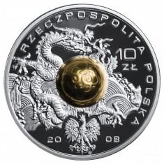 Moneda Polonia 10 Zloti 2008 - KM#645 Proof ( J.O. Beijing - argint + aur ), Europa