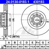 Disc frana AUDI A8 limuzina 4.2 quattro - ATE 24.0130-0183.1