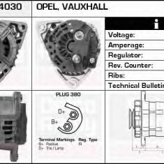 Generator / Alternator OPEL ASTRA G hatchback 2.0 DI - DELCO REMY DRB4030 - Alternator auto