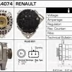 Generator / Alternator DACIA LOGAN 1.2 16V - DELCO REMY DRA4074 - Alternator auto