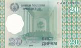 Bancnota Tadjikistan 20 Diram 1999 - P12 UNC