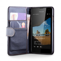Husa Microsoft Nokia Lumia 550 + folie + stylus - Husa Telefon Microsoft, Negru, Piele Ecologica, Cu clapeta