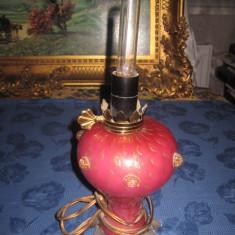 Lampa veioza vintage din sticla deosebita roz-mov electric 250 volti. - Corp de iluminat, Veioze