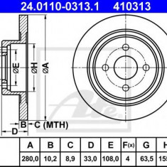 Disc frana FORD FOCUS ST170 - ATE 24.0110-0313.1 - Discuri frana