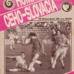 Program meci fotbal ROMANIA -CEHO-SLOVACIA 14.11.1992