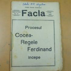 Facla 12 mai 1923 Procesul Cocea - Ferdinand A. C. Cuza Vintila Bratianu - Revista culturale
