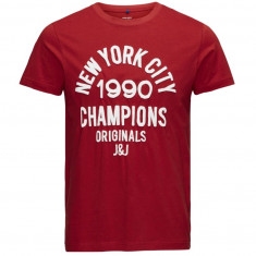 Tricou din bumbac, slim fit - Jack & Jones - art. 12112076 rosu