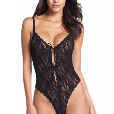 P469-1 Body sexy din dantela, cu decolteu adanc in fata - Body dama, Marime: M