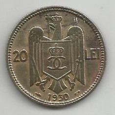 ROMANIA CAROL II 20 LEI 1930, PARIS [14] Livrare in cartonas - Moneda Romania, Cupru-Nichel