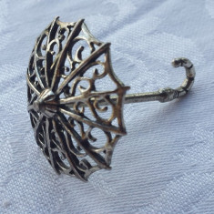 UMBRELA argint in miniatura Piesa de colectie executata manual Patina minunata, Ornamentale