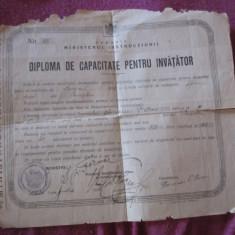 Diploma de capacitate pentru invatator 1926 scoala spiru haret buzau c1 - Diploma/Certificat
