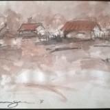 Peisaj sat dunarean - Pictor roman, Peisaje, Acuarela, Altul
