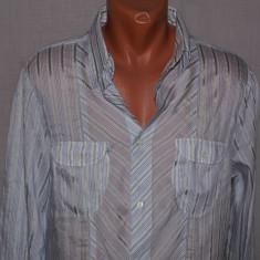Camasa barbati Roberto Cavalli JUST CAVALLI foarte subtire alba cu dungi albastre marimea M / L, Marime: M, Maneca lunga