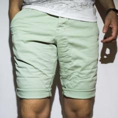 Pantaloni scurti - 100% bumbac pantaloni verzi pantaloni vara cod 22 - Bermude barbati, Marime: 32, 33, 34, 36, 38, Culoare: Verde