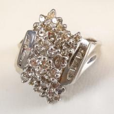Inel aur cu diamante - Inel diamant, Carataj aur: 12k, Culoare: Alb, 46 - 56